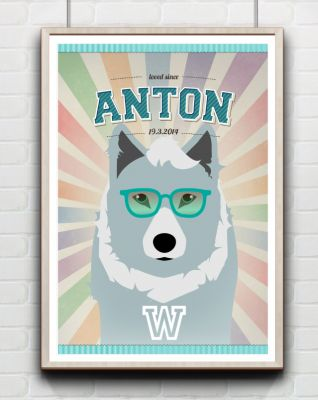 Wolf, Kinderposter, Namensposter,Tier PosterWunschname